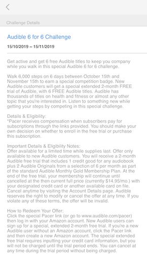 Audible 6 for 6 challenge details