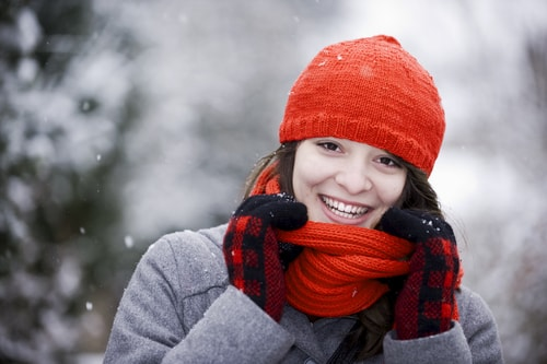 Woman bundled up for winter with hat and scarf
