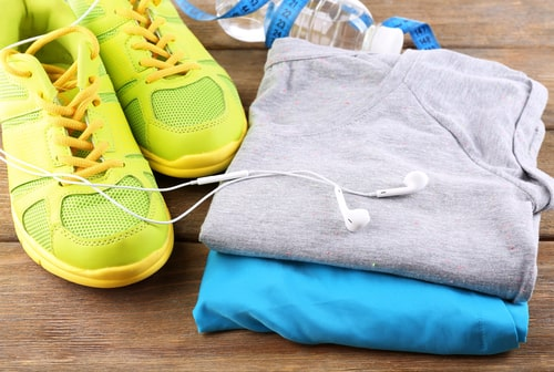 Sports clothes and shoes laid out