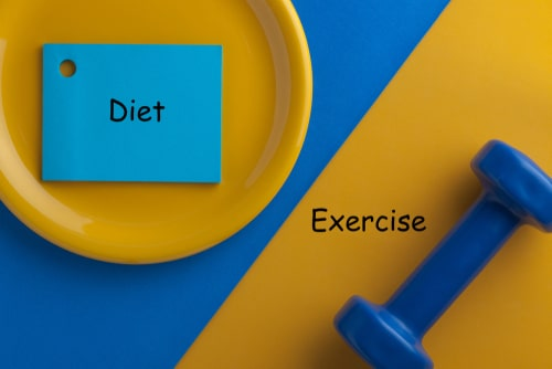 Diet vs exercise comparison concept