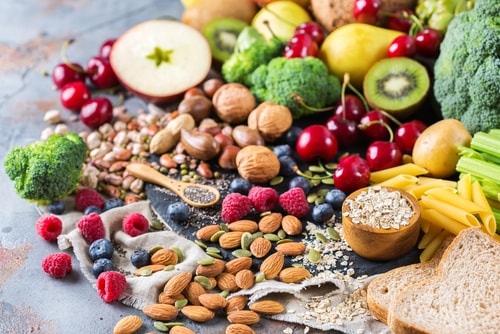 Veggies, fruits, nuts and seeds