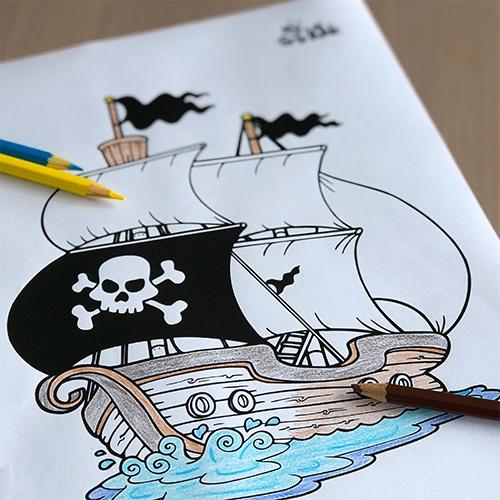 Coloriage pirate Bateau