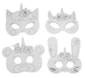 Masques Licorne à colorier
