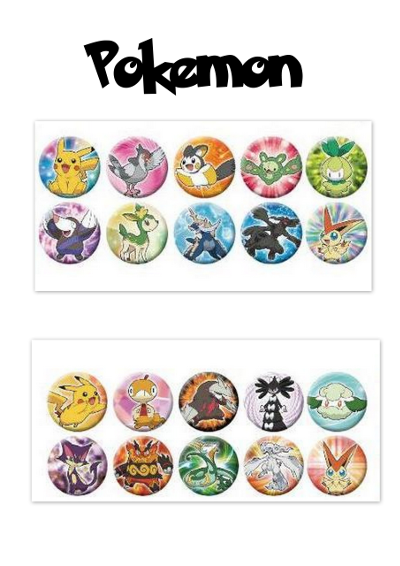 Planches de badges pokemon multicolores à imprimer
