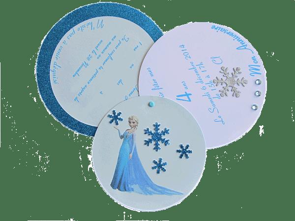 Vue dépliée du carton boule de neige Reine des Neiges
