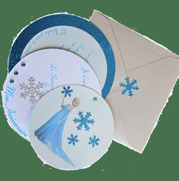 Vue dépliée du carton boule de neige Reine des Neiges avec enveloppe