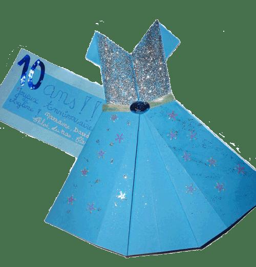 carton d'invitation reine des neiges robe d'Elsa