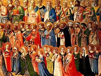 litanie des Saints - tableau des saints auréolés en prière