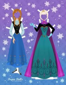 Poupée en papier des soeurs de la reine des neiges - Cory Jensen