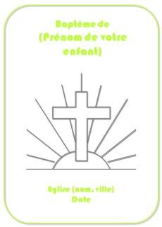 Couverture de livret de bapteme vert représentant la croix de Jésus