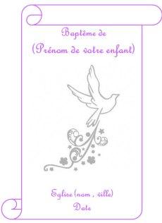 Couverture de livret de baptême rose pour fille représentant une colombe à longue traine étoilée
