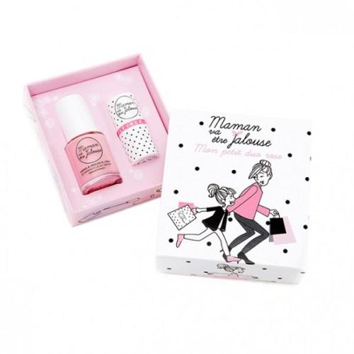 Joli coffret cadeaux de cosmétique pour petite fille comprenant un vernis à ongles rose démaquillable à l'eau et un rose à lèvres