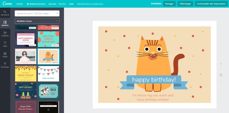Créer une carte d'anniversaire gratuite avec Canva