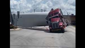 Watch a freight train slam into truck carrying a wind turbine blade in Texas