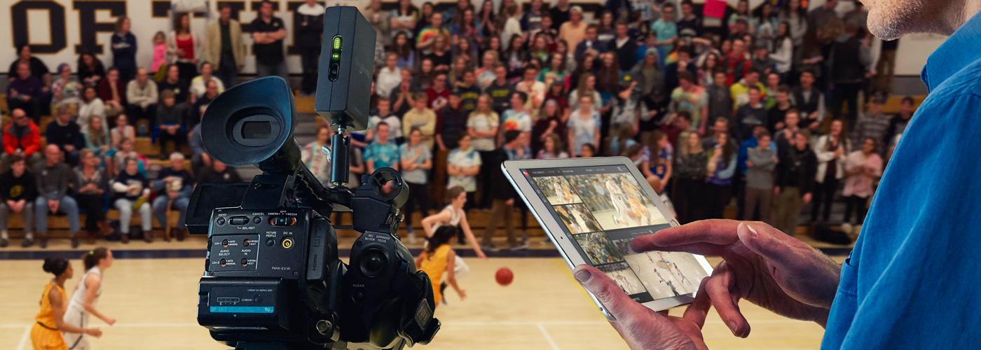 SlingStudio console app being used during a basketball game to manage a livestreaming and recording production.