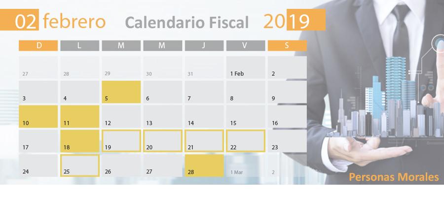 Calendario Febrero 2019.Calendario Fiscal Febrero 2019 Personas Morales Blog De Mysuite