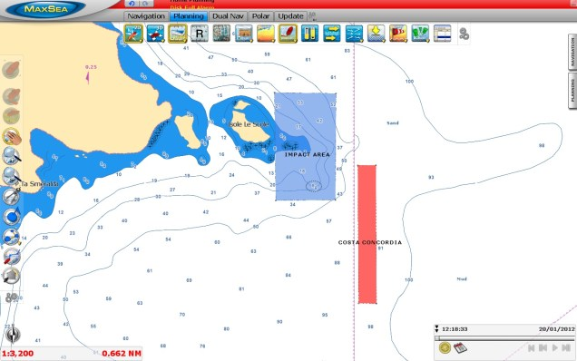 Probable impact area for the Costa Concordia ship in 2D (C-MAP by Jeppesen chart)