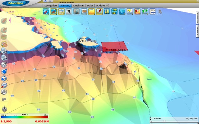 Probable impact area Costa Concordia 3D (C-MAP by Jeppesen)