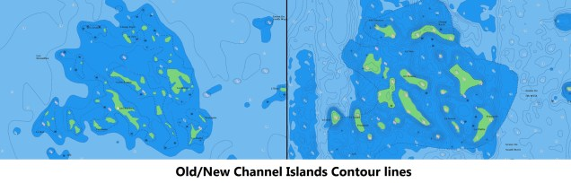 Old vs. New Channel Islands Contour Lines