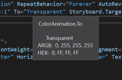 Transparent color under intellisense
