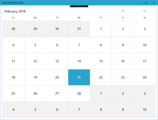 Default look of the CalendarView