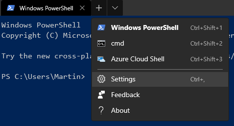 Settings menu of Windows Terminal