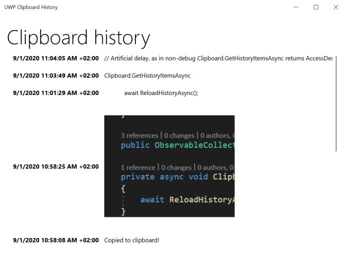 UWP Clipboard History