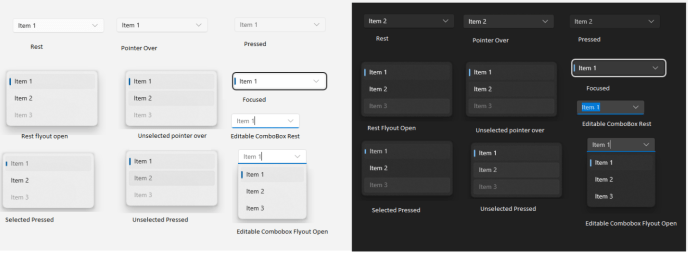 """An example of the new """"Sun Valley"""" visual styles of ComboBox (credit WinUI GitHub]"""