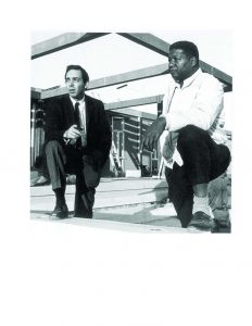 H. Jack Geiger, MD, and John Hatch during the construction of the Tufts-Delta Health Center