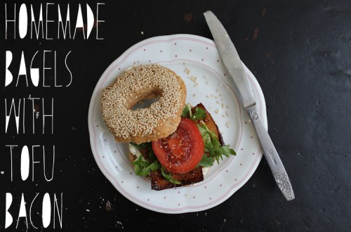 homemade bagels with tofu bacon