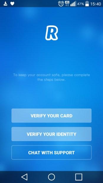 Menu de vérification d'identité