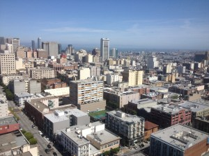 vista of San Fran from holiday inn hotel 26th floor