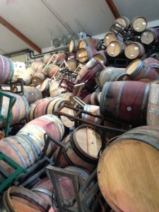 Pile of Randy Hester's barrels after Napa earthquake