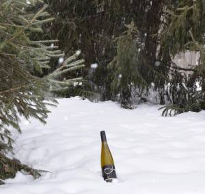 macario bottle in snow[Montoya Photo Winter Customer White BottleShot USA]