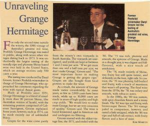 news clipping from wine spectator about daryl groom former penfolds grange winemaker