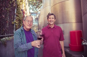 jim olsen and tom shula making wine at the angel-funded winery in kenwood sonoma