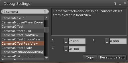 Debug Setting CameraOffsetRearView