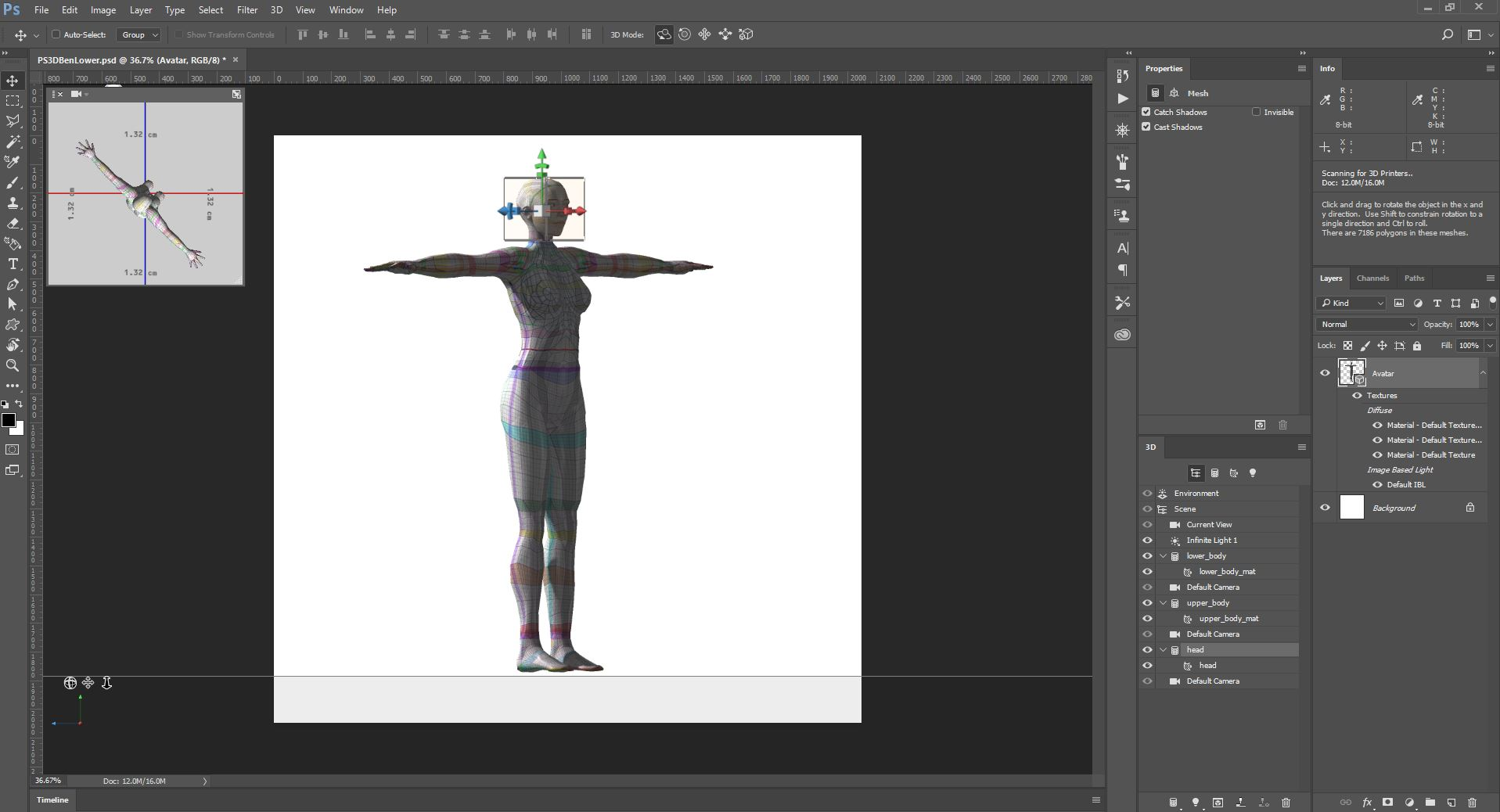 Photoshop 3D: How to make textures for Second Life Avatars