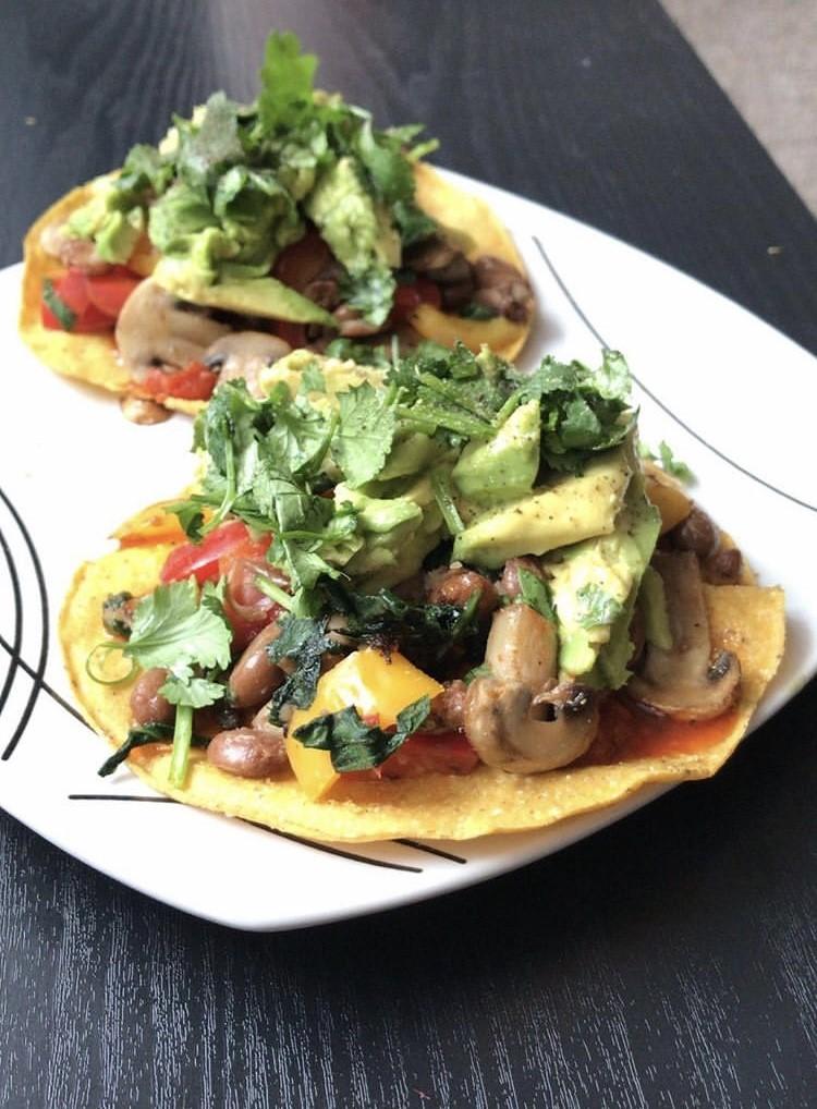 vegan mushroom tostadas