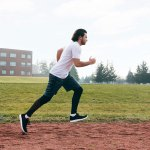 Man running at the track