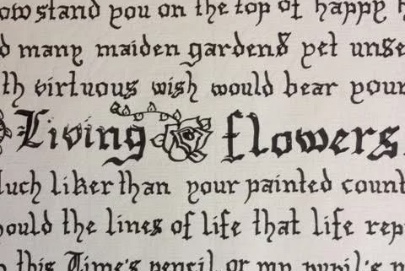 the words living flowers in script writing