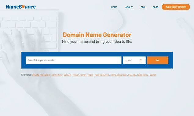 This is a screenshot of NameBounce's domain name generator.