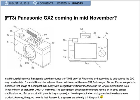 Panasonic gx2 coming in mid november