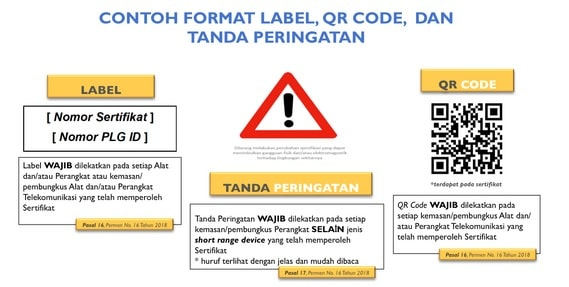 contoh format label, QR code dan tanda peringatan