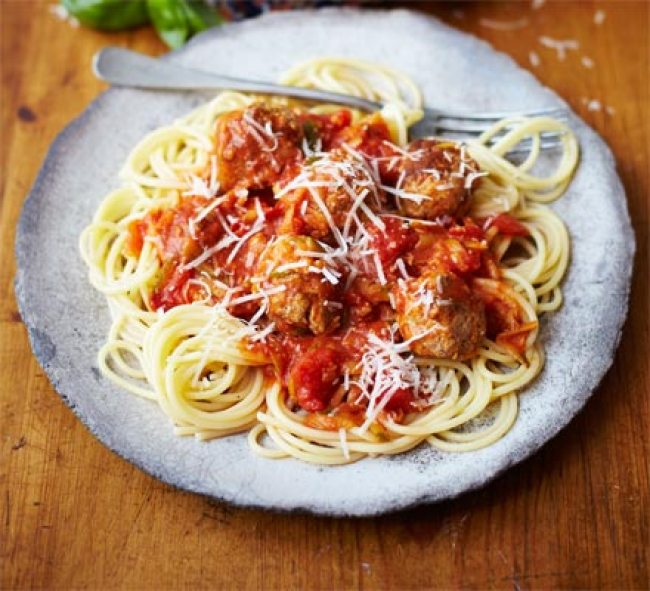Spaghetti and Meatballs with Hidden Veggie Sauce from BBC Good Food. This recipe is meant for a family cooking session. A great spaghetti and meatballs with hidden zucchini.