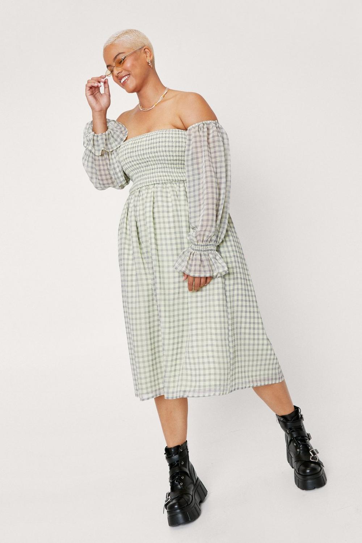 Off the shoulder gingham midi dress