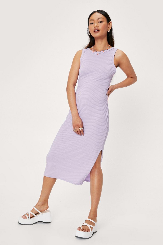Lilac bodycon slit midi dress