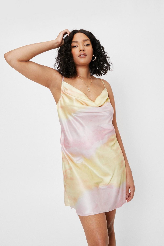 Cowl neck satin slip dress