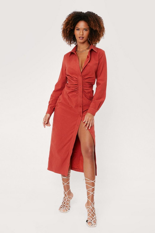 Red button down midi dress