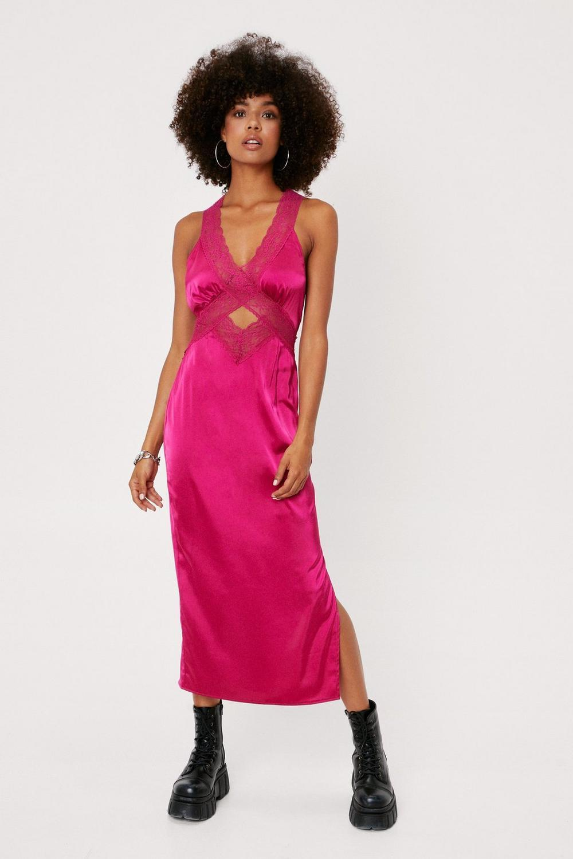 satin and lace midi slip dress